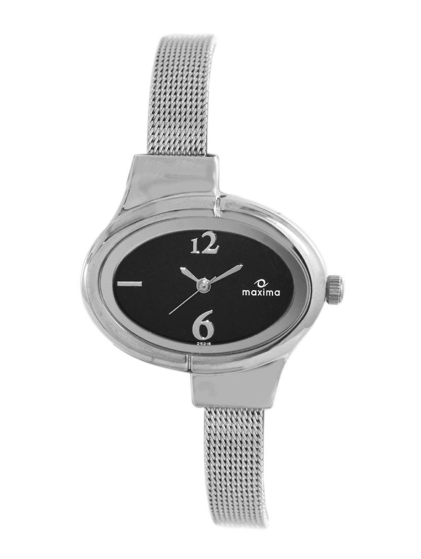 maxima black analog watch for women