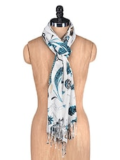 White Floral Printed Scarf - By