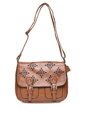 Brown Cut Work Faux Leather Sling Bag - By