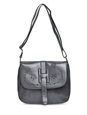 Grey Faux Leather Sling Bag - By