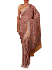 Multicoloured Paisley Printed Crepe Saree - By