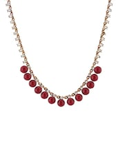 Red Metal Long Necklace - By