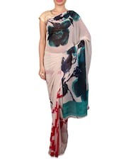 Cream Floral Printed Georgette Saree - Fabdeal