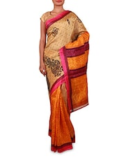 Printed Beige And Yellow Art Silk Saree - By