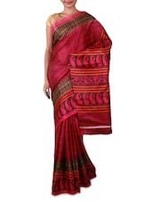 Pink Printed Bhagalpuri Silk Saree - Fabdeal