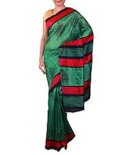 Green Printed Bhagalpuri Silk Saree - Fabdeal