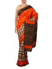 Orange Bhagalpuri Silk Saree - Ambaji