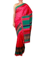 Pink Printed Bhagalpuri Silk Saree - Ambaji