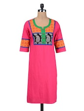Pink Cotton Solid Kurta - By