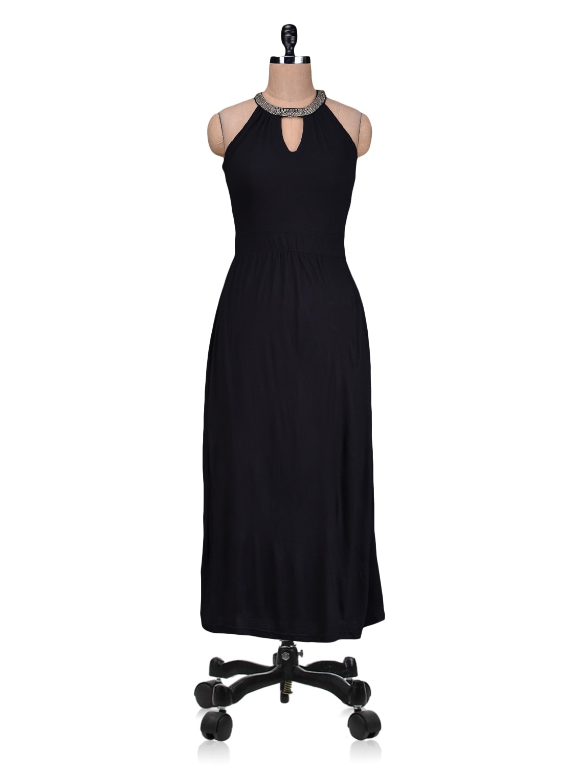 Black Beaded Knitted Viscose Maxi Dress - By