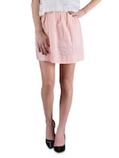 Pink Yarn Dyed Striped Polyester Skirt - By