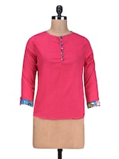 Pink Cotton Crinkled Kurta Top - By