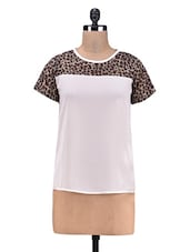 White Printed Poly Georgette Yoke Top - By