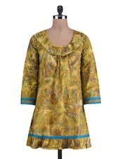 Olive Green Cotton Printed Kurti - By