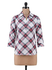 Multicolour Yarn Dyed Check Printed Modal Top - By