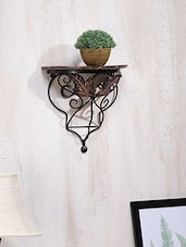 Hand Carved Leaf Wood & Wrought Iron Wall Bracket - By