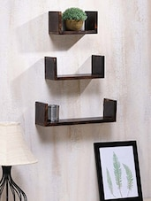 Wooden Brown Wall Shelf ( Pack Of 3 ) - By