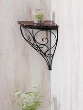 Wrought Iron & Wood Corner Wall Bracket - Centenarian Art & Crafts