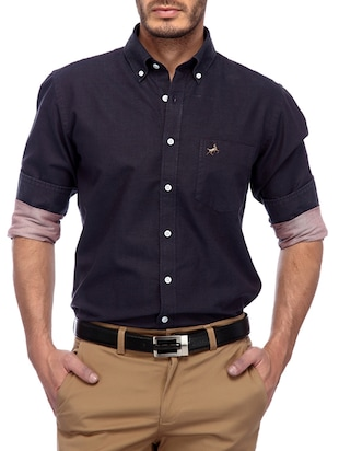 solid purple cotton casual shirt -  online shopping for casual shirts