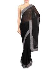 Black Faux Georgette Saree With Grey Border - Mirchi Fashion