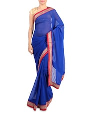 Blue Faux Georgette Saree With Embroidered Border - By