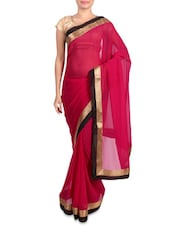 Pink Faux Georgette Saree With Gold Border - Mirchi Fashion