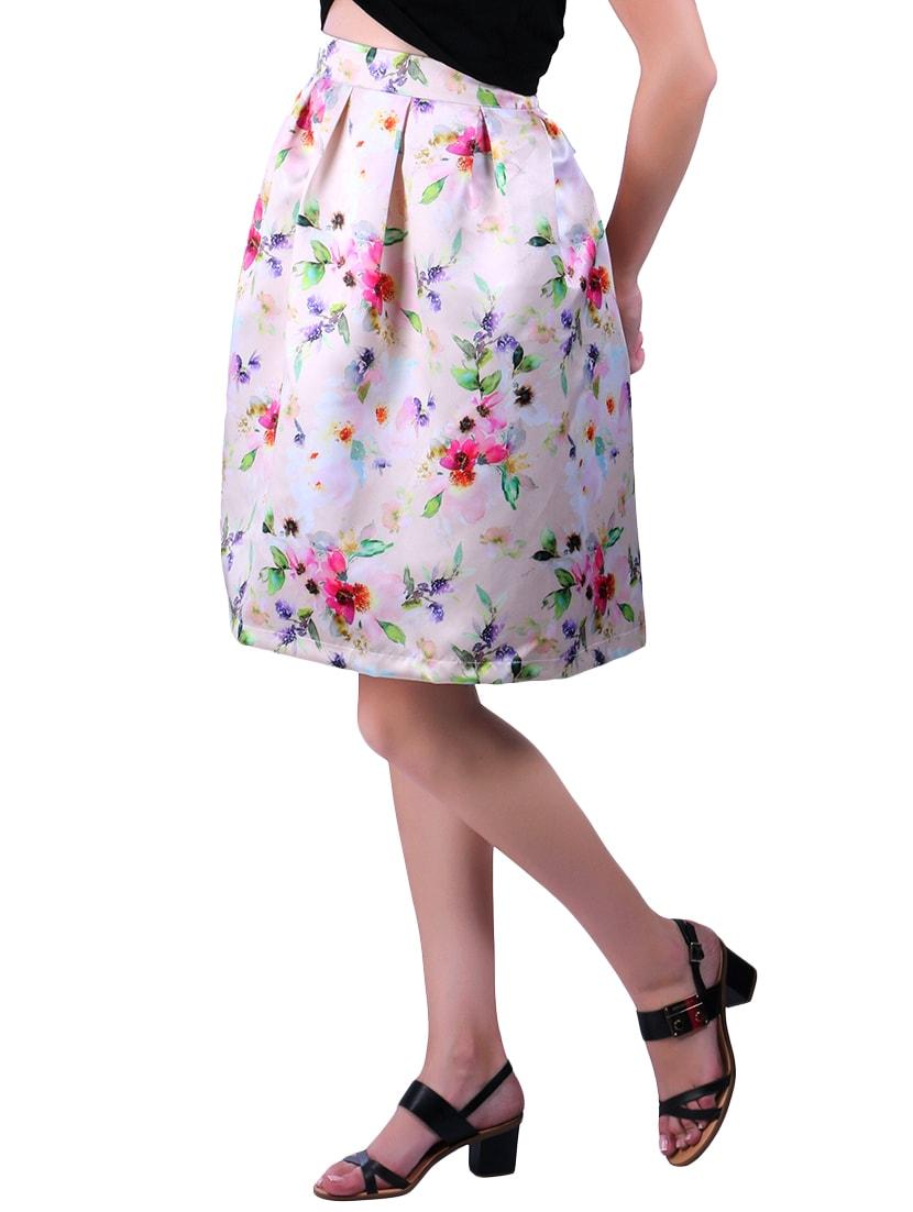 553462edf Light Pink Floral Printed Polyester Skater Skirt