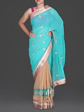 Beige And Sky Blue Embroidered Georgette Saree - Aastha