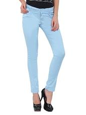 Light Blue Cotton Lycra Pants - By