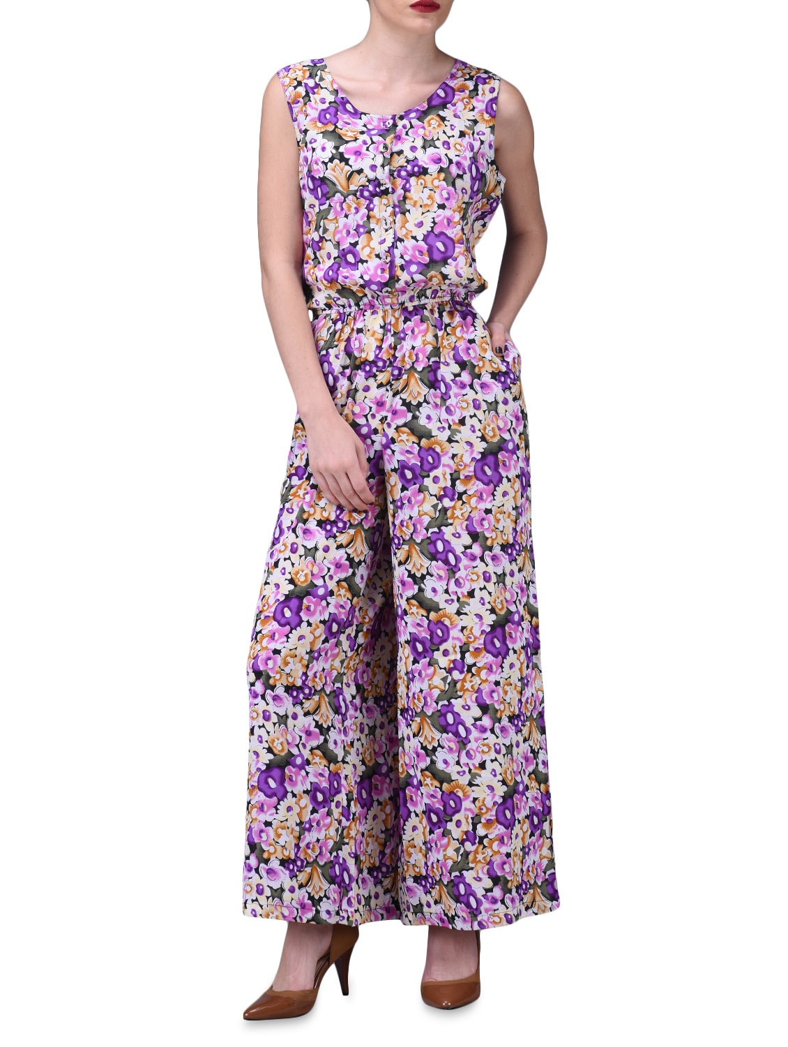 Purple Floral Print Sleeveless Jumpsuit - By