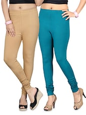 Beige And Blue Cotton Lycra Leggings Set - By
