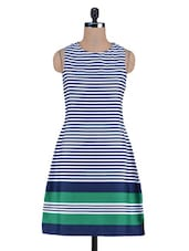 Blue Stripes Printed Poly Crepe Dress - By