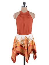 Orange Printed Poly Crepe Knitted Cotton Dress - By