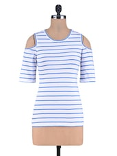 Blue Printed Stripes Knitted Cotton Top - By