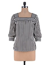 Black Stripes Printed Knitted Cotton Top - By