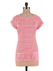 Red Striped Knitted Cotton Top - By