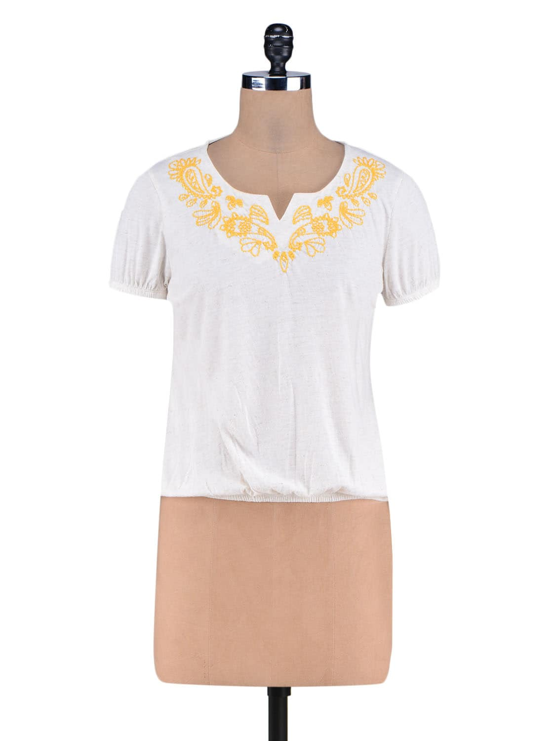 White Embroidered Knitted Cotton Top - By