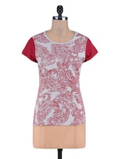 Red Printed Knitted Cotton Top - By