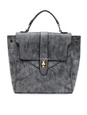 Textured Grey Faux Leather Hand-held Bag - By