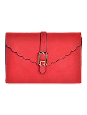 Textured Red Faux Leather Sling Bag - Hawai