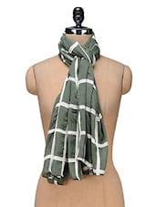 Green Yarn Dyes Checks Printed Viscose Scarf - By