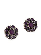 Purple Stone Embellished Floral Studs - Roshni Creations