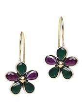 Purple And Green Stone Embellished Floral Earrings - By