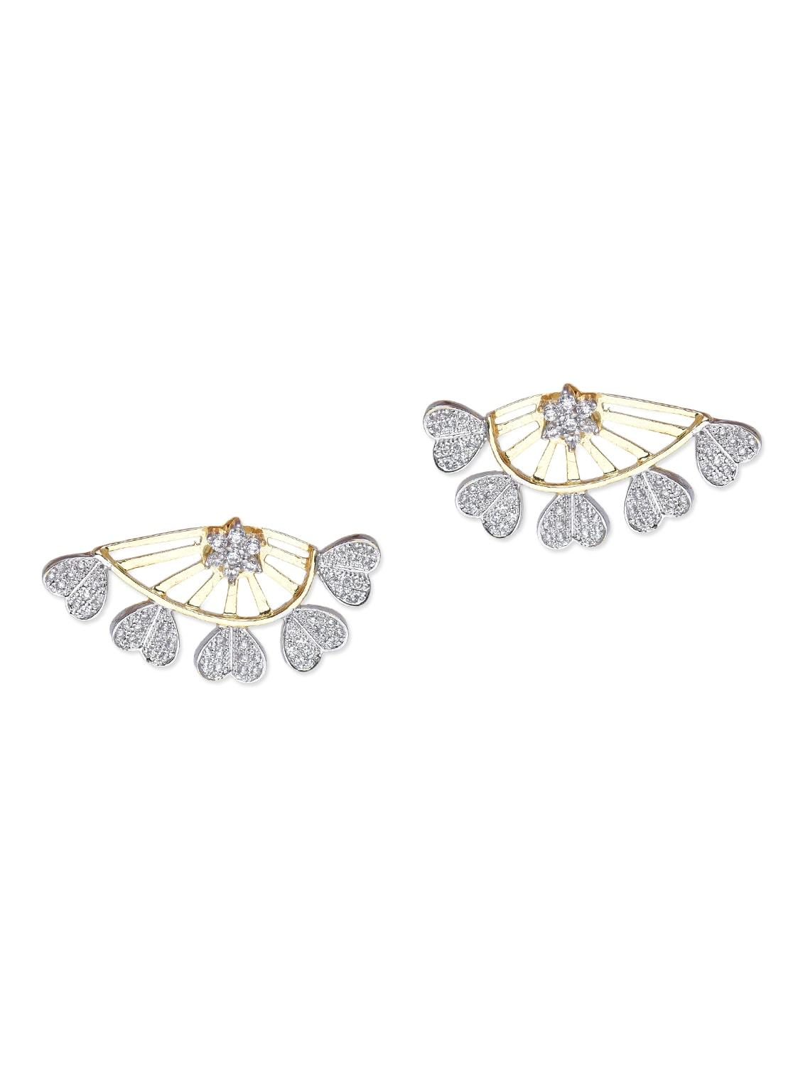 Embellished Floral And Heart Front-back Earrings - Roshni Creations