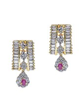 Silver Embellished Vertical Diam Shape Earrings - Roshni Creations