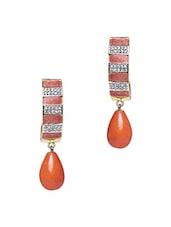 Orange Embellished Curve Drop Earrings - Roshni Creations