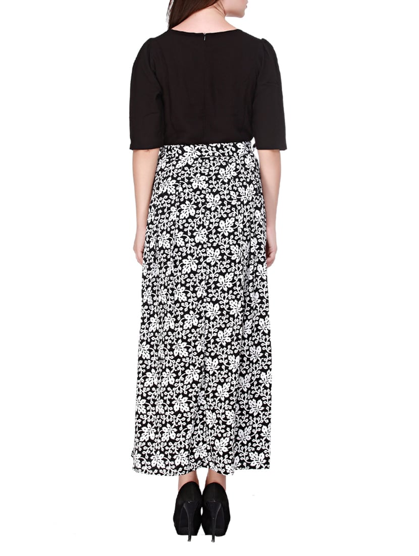 Buy Black Printed Viscose Maxi Dress by Cottinfab - Online shopping for  Dresses in India  7c1dc9dd9