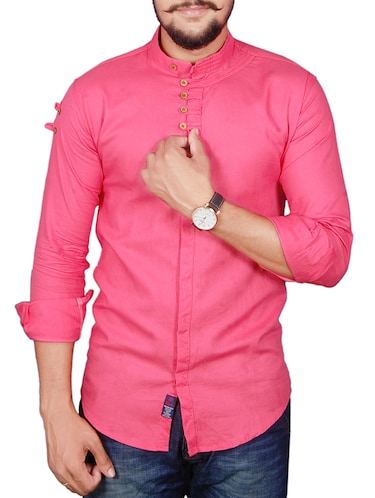 pink cotton casual shirt - 11951226 - Standard Image - 1