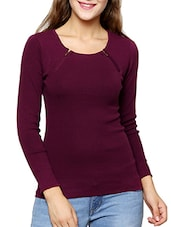 purple cotton regular pullover -  online shopping for Pullovers