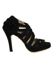 Black Faux  Leather Strappy Heels - Jodie